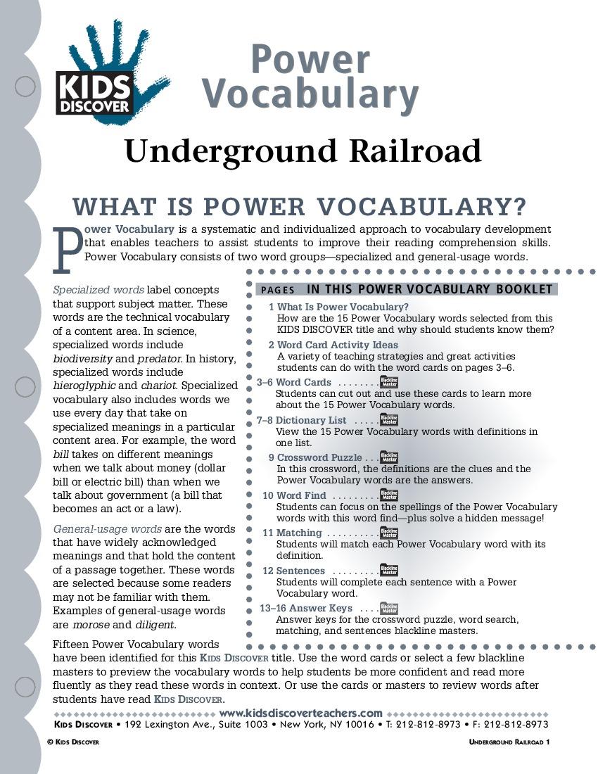 Underground Railroad Kids Discover – Underground Railroad Worksheet