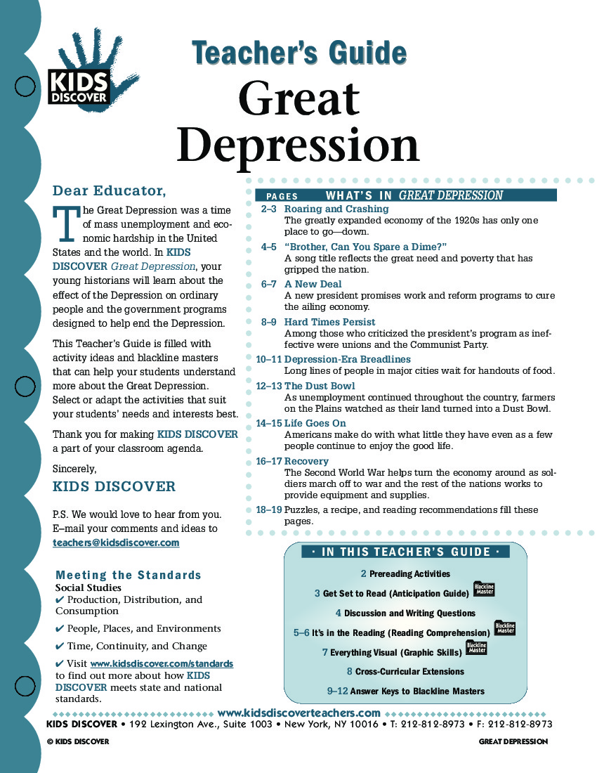 Great Depression Kids Discover – Causes of the Great Depression Worksheet